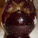 VINTAGE LEFTON OWL FIGURINE PAPERWEIGHT CONTROLLED BUBBLES PURPLE GLASS