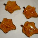 TERRE E PROVENCE POTTERY FRANCE MAPLE LEAF SMALL DISH ASHTRAY SET OF 4 YELLOW