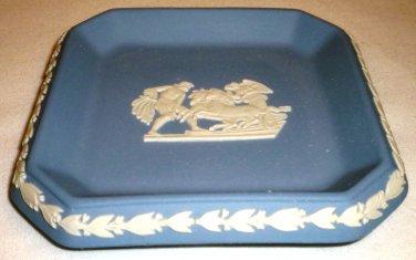 WEDGWOOD BLUE JASPERWARE SQUARE PIN DISH TRAY PEGASUS GREEK GODS ENGLAND