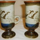 OTAGIRI IRISH COFFEE PEDESTAL MUG HANDCRAFTED POTTERY JAPAN FLYING GEESE 2