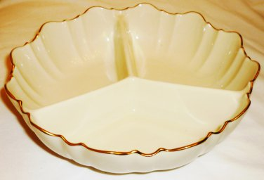ROUND DIVIDED CONDIMENT NUTS CANDY DISH LENOX IVORY PORCELAIN SYMPHONY SCALLOPED