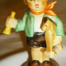VINTAGE  GOEBEL WEST GERMANY MINIATURE FIGURINE BOY W/HORN & TOY HORSE