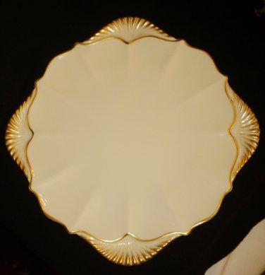 VINTAGE LENOX IVORY PORCELAIN 24 k GOLD DECORATED SANDWICH CAKE PLATTER