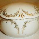 ANTIQUE RS GERMANY PRUSSIA PORCELAIN TRINKET VANITY POWDER BOX WHITE GOLD TRIM