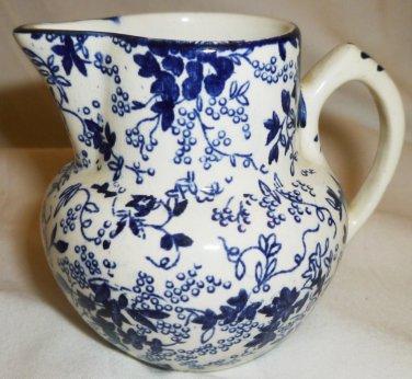 VINTAGE BLUE FLORAL CHINTZ J. W. Co. POTTERY BELGIUM CERAMIC CREAMER