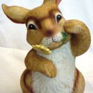 ADORABLE VINTAGE PORCELAIN BUNNY RABBIT FIGURINE ROTATING MUSIC BOX BY MANN