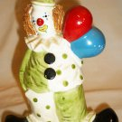 CHARMING VINTAGE COLORFUL PORCELAIN CLOWN W/BALLOONS PIGGY COIN BANK