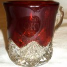 VINTAGE WESTMORELAND CLEAR RUBY GLASS PUNCH COFFEE CUP BROOKVILLE SOUVENIR ETCH