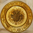 """VINTAGE EMBOSSED TIN COPPER WALL HANGING PLATE ENGLAND FRUITS PINEAPPLE 14"""""""