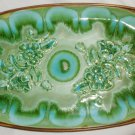 VINTAGE BEAUTIFUL GREEN FLOWERS ENAMEL TREASURE CRAFT SERVING TRAY USA