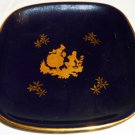 VINTAGE LIMOGES FRANCE PASTORAL 22K GOLD ON COBALT PORCELAIN DECORATIVE PLATE