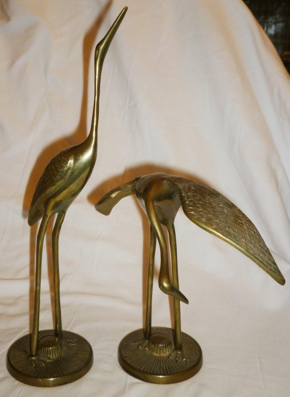 VINTAGE SOLID BRASS SET OF 2 STORKS HERONS BIRDS