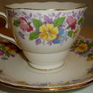 VINTAGE COLCLOUGH GENUINE BONE CHINA LONGTON ENGLAND CUP & SAUCER FLORAL SET