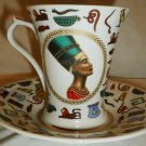 GORGEOUS CHENG KUN PORCELAIN HAND PAINTED NEFERTITI TEA COFFEE CUP MUG & SAUCER