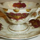 VINTAGE ANTIQUE CROWN LEFTON JAPAN HANDPAINTED BURGUNDY GOLD TEA CUP SAUCER SET