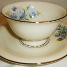 SHENANGO FINE CHINA USA BLUE BELLFLOWER PEDESTAL CUP & SAUCER SET