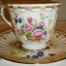 DUCHESS ENGLAND FINE BONE CHINA FLOWER BASKET CUP & SAUCER SET