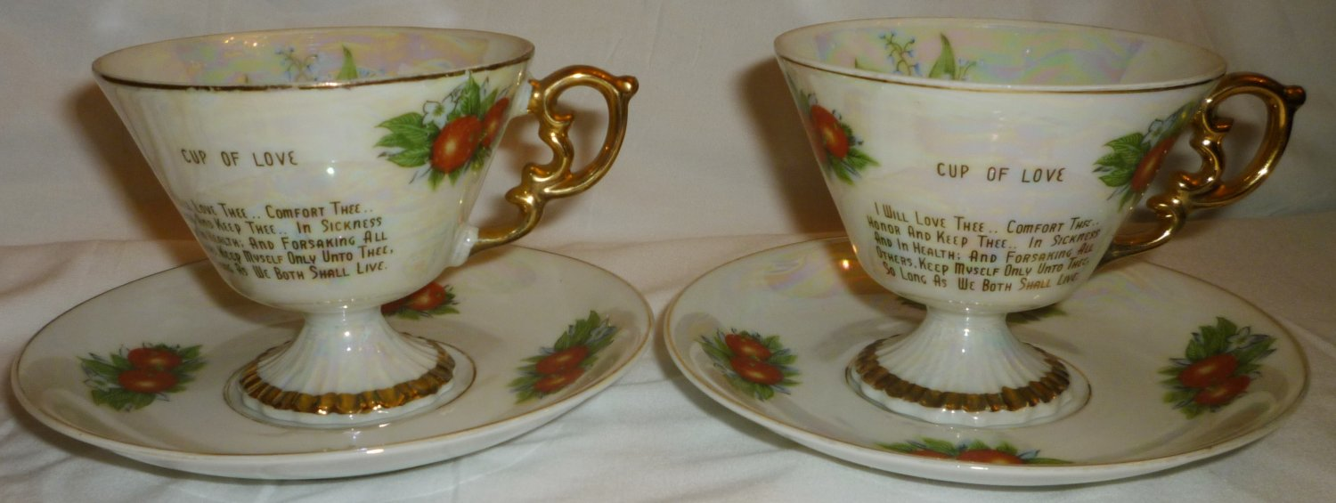 VINTAGE WEDDING VOWS CUP OF LOVE TEA CUP & SAUCER SET OF 2 ANNIVERSARY JAPAN