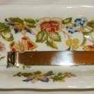 AYNSLEY COTTAGE GARDEN FINE BONE CHINA ENGLAND DESK TOP LETTER OPENER & HOLDER