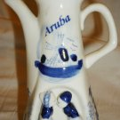 VINTAGE PAIR DELFT DUTCH HOLLAND ARUBA BLUE & WHITE PORCELAIN CRUET SAKE