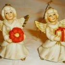 CHARMING HOMCO VINTAGE VICTORIAN CHRISTMAS ORNAMENT ANGEL SET OF 2