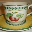 VILLEROY BOCH GERMANY FRENCH GARDEN FLEURENCE BREAKFAST CUP & SAUCER SET OF 4