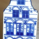 VINTAGE PORCELAIN WHITE & BLUE DELFT DUTCH HOUSE PEPPER SALT SHAKER