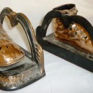 VINTAGE ANTIQUE BRONZE PLATED BABY SHOES BOOTIES BRONZE BOOKENDS SET OF 2
