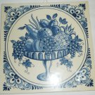 VINTAGE BLUE & WHITE DELFT PLATEELBAKKERY SCHOONHOVEN HOLLAND FRUIT BASKET TILE