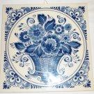 VINTAGE BLUE & WHITE DELFT PLATEELBAKKERY SCHOONHOVEN HOLLAND FLOWER BASKET TILE