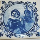 VINTAGE BLUE & WHITE DELFT BOY WITH FLUTE & VIOLIN HOLLAND Judith Leyster