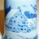VINTAGE CURRIER & IVES BLUE HOMESTEAD IN WINTER PORCELAIN THIMBLE