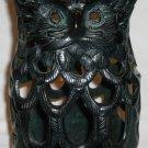 VINTAGE CAST IRON FIGURAL OWL VOTIVE CANDLE LANTERN PATIO LAMP JAPAN