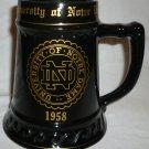 VINTAGE 1958 UNIVERSITY OF NOTRE DAME BATFOUR BLACK CERAMIC BEER STEIN RONNIE