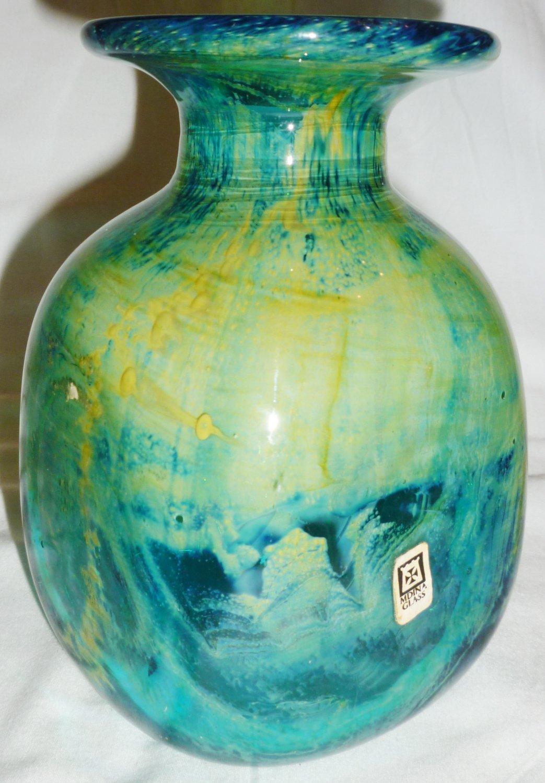 STUNNING VINTAGE MDINA ART STUDIO GLASS MALTA MING MALTESE TURQUOISE GREEN VASE