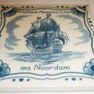 VINTAGE WHITE/BLUE DELFT PORCELAIN TIME SAILBOAT HOLLAND AMERICA LINE ms NOORDAM