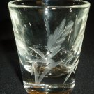 VINTAGE SHOT GLASS VODKA TEQUILA ELEGANT ETCHED CRYSTAL GLASS SET/6