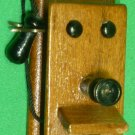 VINTAGE DOLLHOUSE MINIATURE WOODEN TELEPHONE WALL PHONE CRANK ANTIQUE STYLE