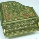 VINTAGE BEAUTIFUL BRASS LACED EMBOSSED CUPID PIANO MUSIC FELT LINED JEWELRY BOX
