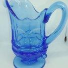 VINTAGE FOSTORIA HFM ARGUS COBALT BLUE GLASS PEDESTAL CREAMER