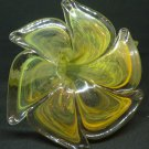 VINTAGE MURANO ART GLASS YELLOW FLOWER CANDLE HOLDER