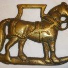 VINTAGE SOLID BRASS HORSE SADDLE HARNESS BRASS MEDALLION STABLE HORSE