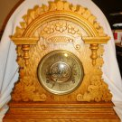 ANTIQUE C.1893 E. INGRAHAM MANTEL SHELF CLOCK OAK CABINET No.2 ALARM CHIME
