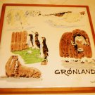 COLLECTIBLE VINTAGE FRAMED PORCELAIN TILE GREENLAND ART WALRUS MADE IN SPAIN