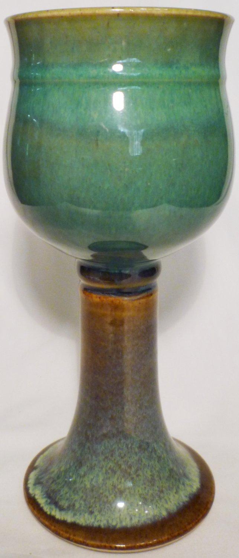 STUDIO ART POTTERY PEDESTAL STEMMED GOBLET CANDLE HOLDER MULTICOLOR GREEN BROWN
