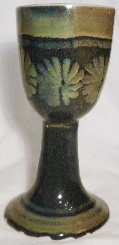 STUDIO ART POTTERY PEDESTAL STEMMED GOBLET CANDLE HOLDER BLUE GREEN FLOWERS