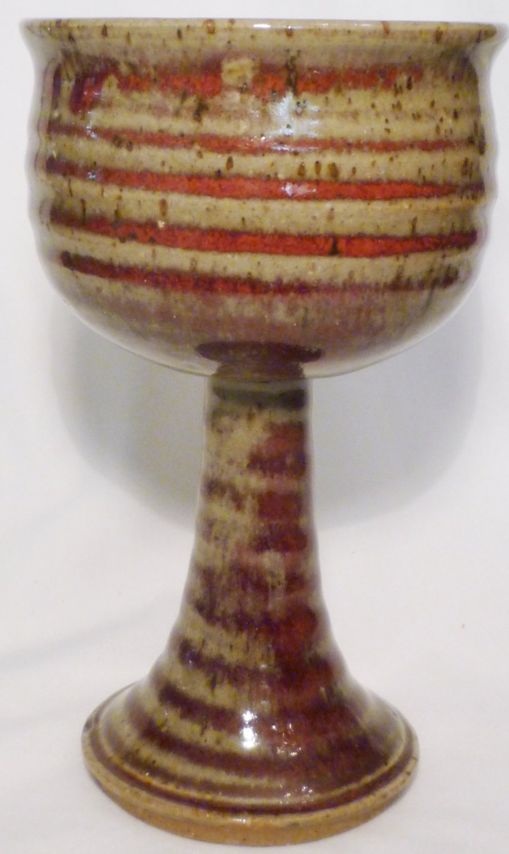 STUDIO ART POTTERY PEDESTAL STEMMED GOBLET CANDLE HOLDER RED SPIRAL SIGNED