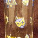 JUDAICA WATER GLASS SET OF 3 HANUKKAH TUMBLER MENORAH DREIDEL DECOR