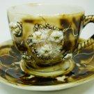 ANTIQUE COLLECTIBLE FINE PORCELAIN ESPRESSO CUP/SAUCER SET BROWN APPLIED FLOWERS