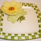 BEAUTIFUL VINTAGE CALI POTTERY 3D CHIP & DIP FROG IN A LILY DECORATIVE PLATTER